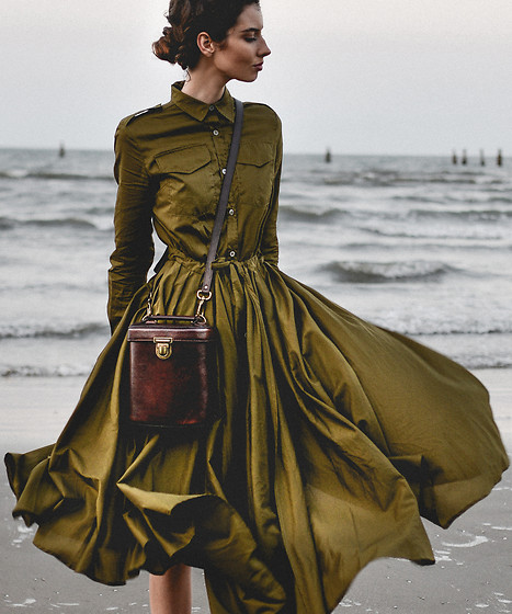 Elle-May Leckenby - Metisu Placket Pleated Swing Midi Dress, Alex Cylinder Bag - Olive Clothing