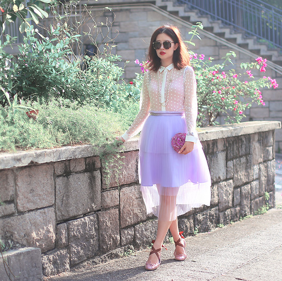 Mayo Wo - Karen Walker Sunnies, Miss Patina Sheer Shirt & Skirt, Repetto Ballerina - Tiered sheer cheer
