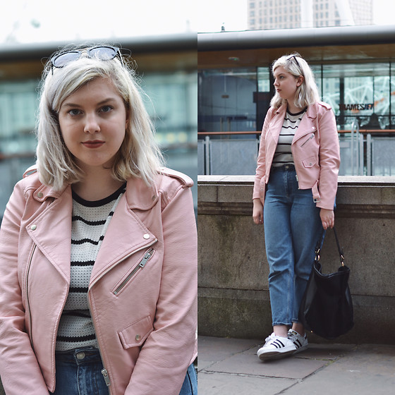 Elizabeth Claire - Zara Pink Leather Jacket, Whowhatwear For Target White And Black Striped Shirt, Topshop Mom Jeans, Adidas Superstars - Pause