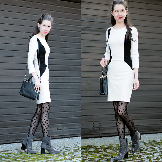 Claire H - Mango Black 'N' White Dress, Coach Bag, Calzedonia Thights - Walking on stars