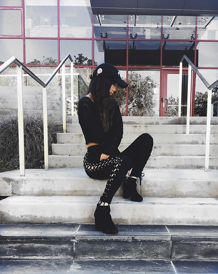 Karen C - Urban Outfitters Cropped Sweater, Amazon Yeezus Hat, Nasty Gal Lace Up Pants, Topshop Booties - Yeezy Season Me