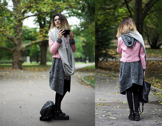 Wonderstyle - Vogue Eyewear Trendy Glasses, H&M Warm And Comfy Scarf, H&M Assassin's Vest, Tendenz Black Boots, Zara Faux Leather Pink Jacket, Asos Black Dotted Legwear, Asos Backpack - Milky Pink