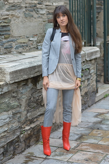 Jeanne -  -  Grey Suit, Tulle Dress and Red Marant Booties