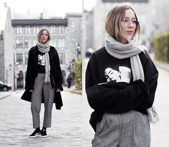 Gabrielle Lacasse - Grey Scarf, Puma Fentyxpuma Sweater, Puma Sneakers, Mensy Pants - My take on FENTYxPUMA