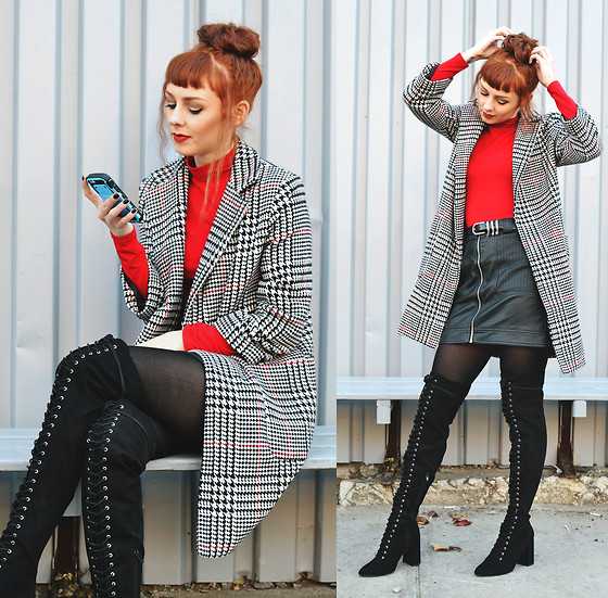 Trixie Belle (instagram = TRIXANDTHECITY) - Zaful Houndstooth Coat, Forever 21 Thigh High Boots - RED HOUND