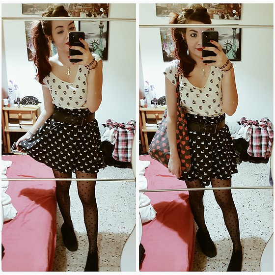 Luc S. - Lefties Printed Skater Skirt, Primark Polka Dotted Tights, Primark Platform Sneakers - Pin up nightmare.