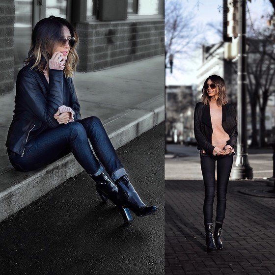 Amber - Vero Moda Faux Suede Jacket, Tony Bianco Low Boots - Pop of pink