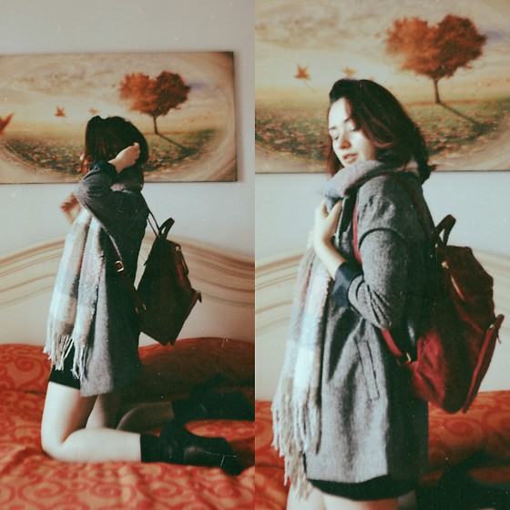 Polly Alba - Zaful Faux Suede Backpack, Zaful Scarf, Forever 21 Grey Blazer, Second Hand Heels - Some Velvet Morning