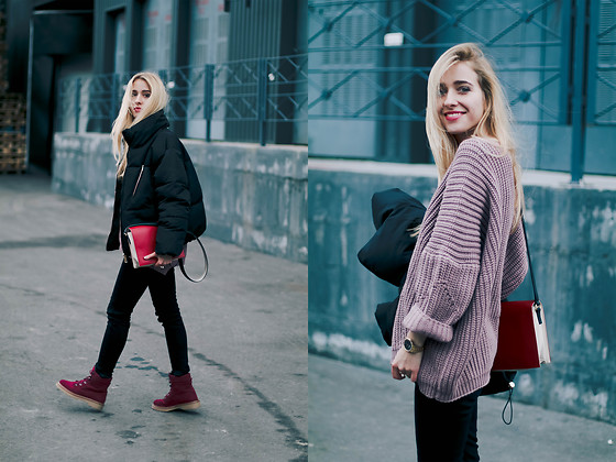 Anna Pogribnyak - Romwe Sweater, Romwe Jacket, Zaful Boots, Romwe Skinny Jeans, Nicole Vienna Watch - Black&Red: Winter look in pillow jacket