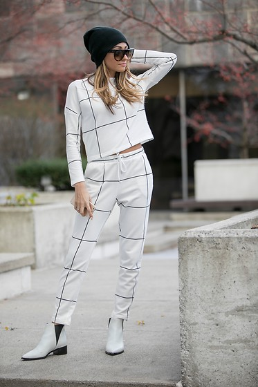 Lauren Recchia - Noisy May Track Pants, Acne Studios Booties - Between the Lines