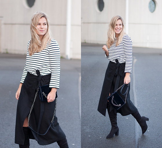 Jules V - Cos Striped Sweater, Zara Velvet Chain Bag, Zalando Overknee Boots - Wrapped in Wool