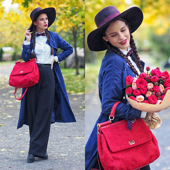 Yana P - Bow Tie, Asos Shirt, Trousers - Red Peonies
