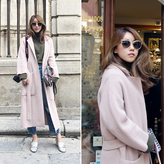 Rekay Style - Christian Dior Cateye Sunglass, Maje Oversized Maxi Coat, High Cheeks Check Bag, Mango Boyfriend Denim Jeans, Gucci Marmont Pumps - Effortless weekend coat look