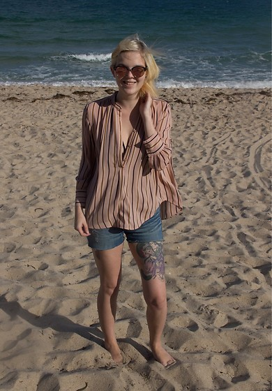 Bree Fesh - Ray Ban Rose Colored Sunglasses, Ann Taylor Pink Striped Blouse, Swim Classy Black Swimsuit, Target Cut Off Shorts - Sand & Style