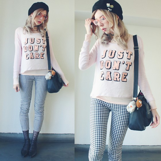 Candy Thorne - H&M Sweater, Gu Houndstooth Pants, Gu Lace Up Flats - I care quite a lot actually