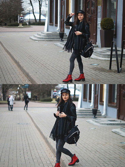 Ann Kos - Waistcoat, Shirt, Backpack, Scarf - BLACK BACKPACK & RED BOOTS