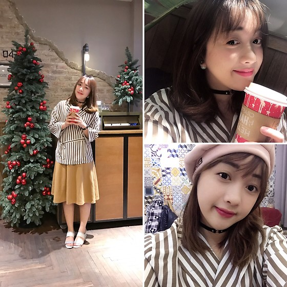 Lan Chi Vu - Spao Yellow Midi Skirt, Juno Blue Silver Sandals - Starbucks x Christmas