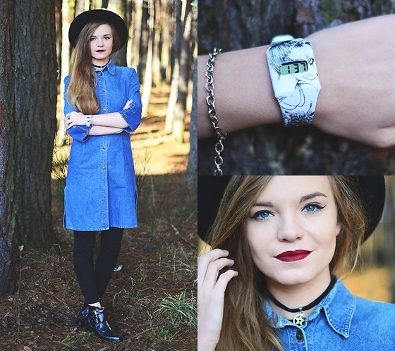 Karolina N. - Watch, Choker, Fedora Hat, Vintage Ddenim Dress, Bershka Pants - GRUNGE WITCH