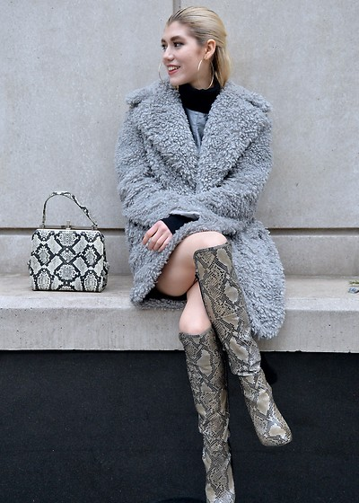 Dani Mikaela McGowan - Kensie Faux Fur Coat, Akira Python Over The Knee Boots, Vintage Python Purse, Madewell Black Turtleneck - Mixing Animal Prints