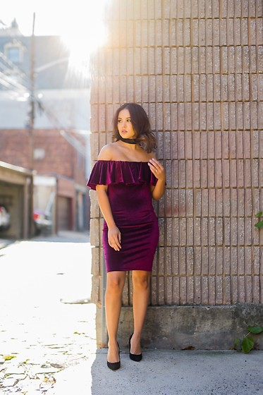 Ralizabeth Orellana - Shein Off The Shoulder Dress, Charlotte Russe Choker, Pumps - Holiday Party Dress