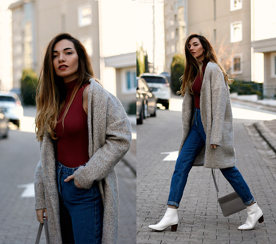 Melike Gül - Romwe Wool Coat, Windsor Knit, Zara Mom Jeans, Zara Boots - Winter Feeling
