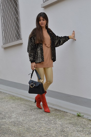 Jeanne -  - Sequin Bomber Jacket and Gold Lamé Skinny Pants for the Day