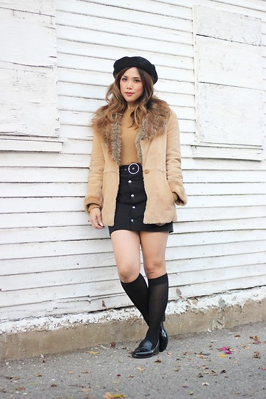 Yuka I. - Beret, Loafers, Knee High Socks, Suede Coat, Ring Button Up Skirt, Camel Crop Sweater - Winter in mini skirts