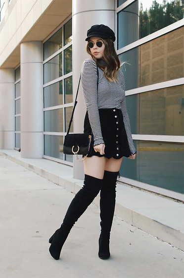 Taylor Smith - Brixton Hat, Ray Ban Sunglasses, Zara Top, Chloe Faye Bag, Vintage Suede Skirt, Steve Madden Knee High Boots - Stripes and Over the Knee Boots