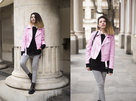Wonderstyle - H&M Black Long Sweater, Asos Striped Pants, Tendenz Black Boots, Zara Milky Pink Jacket - Un Limited