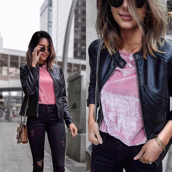 Amber - Maccs Pink Velvet Top, Maccs Pink Velvet Top, Cupcakes And Cashmere Vegan Leather Jacket, Articles Of Society Black Ripped Jeans, Gucci Dionysus Bag, Ray Ban Sunglasses - Pink velvet