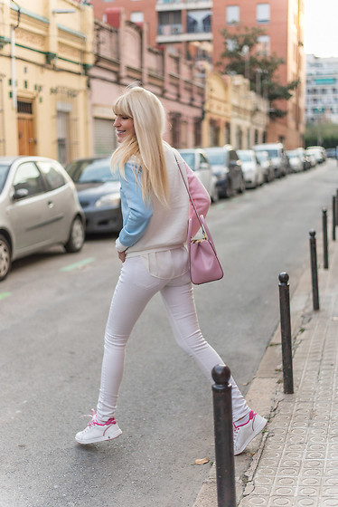 Tijana J.D - Romwe Pastel Color Block Sweatshirt, Bimba Y Lola Pink Bag, H&M White Skinny Pants, Tenth White Pink Sneakers - Sweatshirt chic