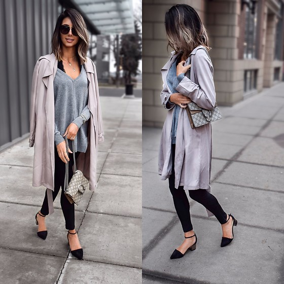 Amber - Cupcakes And Cashmere Duster Coat, Sandro Cashmere Sweater, Gucci Dionysus Bag, Truffle Kitten Block Heels, Diane Von Furstenberg Sunglasses - Pink duster