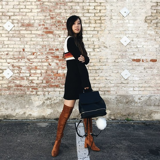Karen C - Free People Colorblock Swit Mini Dress, Free People Mini Backpack, Jeffrey Campbell Shoes Parkway Thigh High Boot - That 70's Show // lookstolustfor.com