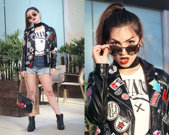 Lindsay Woods - A Vanity Affair Hollywood Sunglasses Gold, Pretty Attitude Rebel Rebel Black Moto Jacket With Patches - Rebel, Rebel