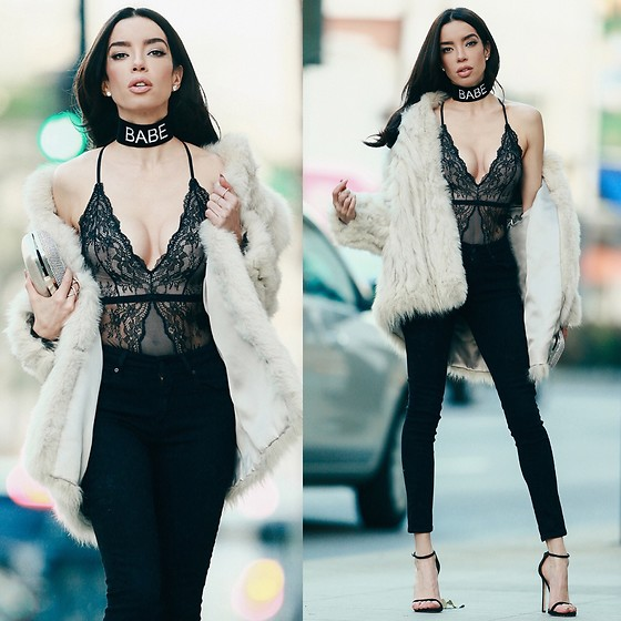 Claudia Salinas - H&M Lace Bodysuit, Levi's® High Waisted Jeans, Stuart Weitzman Nudist Sandal, The Ime Label Customized Choker, Vintage Fur Coat - LINGERIE FOR A NIGHT-OUT