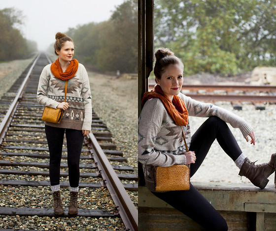 Emily S. - Scarf, American Eagle Sweater, Reflex Fleece Leggings, Born Boots, Etsy Vintage Bag - On The Tracks
