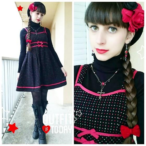 Yumi E.G. - Milk Wool Dress, Axes Femme Boots, H.Naoto Necklace - Red