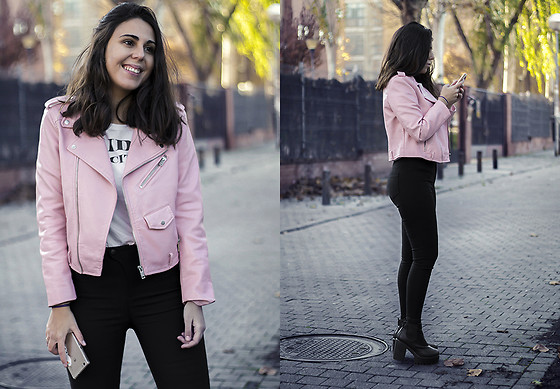 Elsa Gervasi - Zara Jacket, Lefties Shirt, Sammydress Jeans, Newchic Booties - Skinny in black