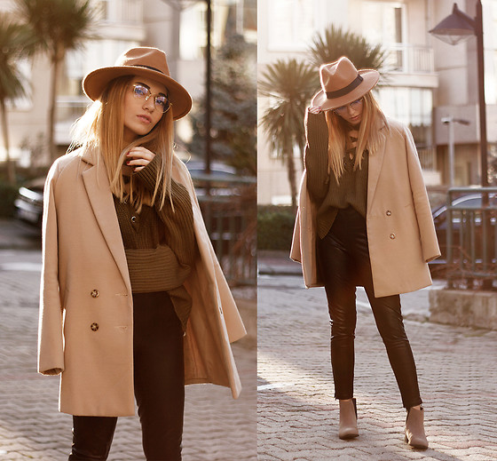 Melike Gül - Sheinside Coat, Sheinside Sweater, Asos Leather Pants, H&M Boots, Clic Clac Glasses - Tomboy at Golden Hour