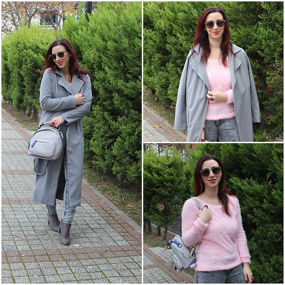 Rebel Takipte - Lovelywholesale Grey Coat, Lovelywholesale Pink Sweater, Ami Club Wear Grey Booties - Pink & Grey