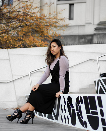 Jenn Hanft - H&M Long Sleeve Top, H&M Black Slip Dress, Justfab Lace Up Heels - Art of Layering