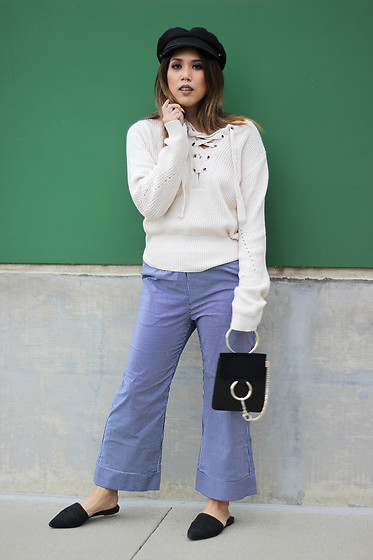 Yuka I. - Newsboy Cat, Lace Up Sweater, Stripe Trousers, Loafers, Ring Bag - Lace up sweater