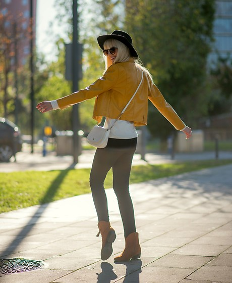 Tijana J.D - Primark Black Hat, Primark Brown Cat Eye Sunglasses, Zaful Mustard Yellow Faux Leather Jacket, Paco Martinez Little White Bag, Esmara White Cotton Turtleneck, Only Black Skinny Pants, Tex Brown Suede Ankle Boots - Piece of sunshine