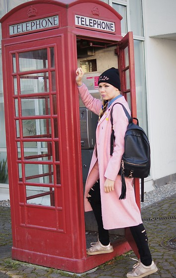 Maria R - Zara Pink Coat, Asos Black Backpack, Pimkie Sneakers - I'll Call You!!!