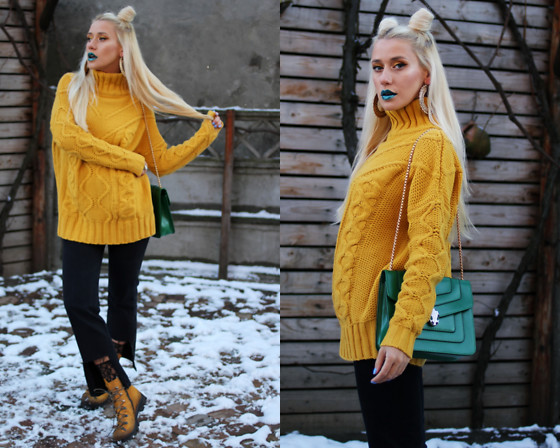 Sinziana Maria Iacob - Vipme Yellow Sweater, Levis Jeans, Papucei Yellow Boots - Yellow There!