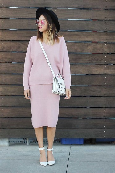 Jeannie Y - Forever 21 Hat, Mackage Rubie Crossbody, Stylewe Two Piece Sweater Dress, Simons Retro Sunglasses - A Study in Pink