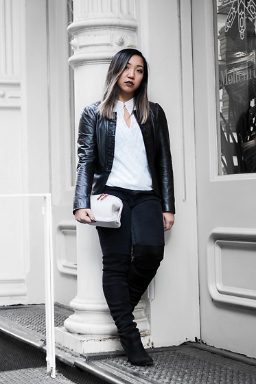 Jenn Hanft - White House Black Market Leather Jacket, H&M White Top, Zara Black Denim, Steve Madden Over The Knees, Dagne Dover Lola Clutch - Leather and Bone