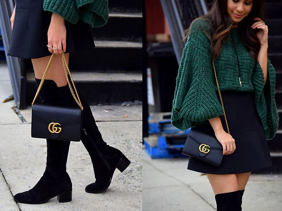 Melissa De Leon - Sheinside Green Bell Sleeve Sweater, Banana Republic Mini Skirt, Kendra Scott Tie Necklace, Anarchy Street Gold Rings, Via Spiga Over The Knee Black Boot, Gucci Marmont Leather Mini Chain Bag - Bell Sleeve Sweater