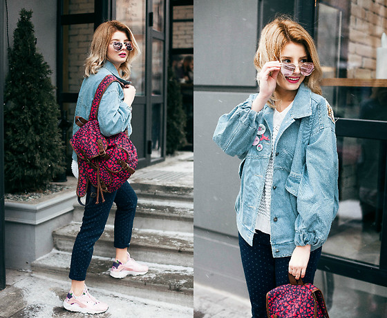 Vlada Kozachyshche - Zaful Jacket, Zaful Sunglasses, Bershka Sweater, Stradivarius Jeans, Accessorize Backpack, Nike Sneakers, H&M Icons, Pink Magazine Icons - Pink Gold + Jeans Jacket