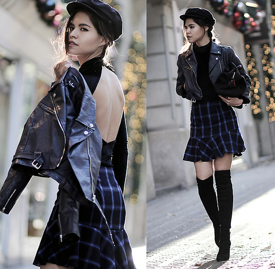 Adriana Gastélum - Jacket, Turtleneck And Skirt, Guess Over The Knee Boots - Navy holidays